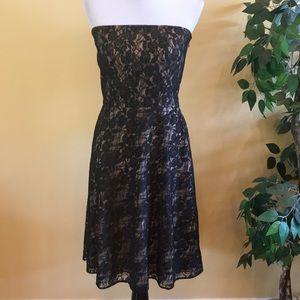 Loft Black Lace Strapless Cocktail Dress Size 6